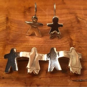 Silpada We Are The Children Pin/Boy&Girl Earrings